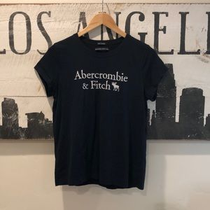 Abercrombie & Fitch Navy Blue 100% Cotton T Shirt
